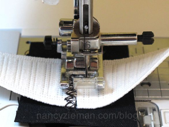 Here's the easiest possible way to sew elastic to a waistline. The bonus is that this technique skips the tell-tale topstitching