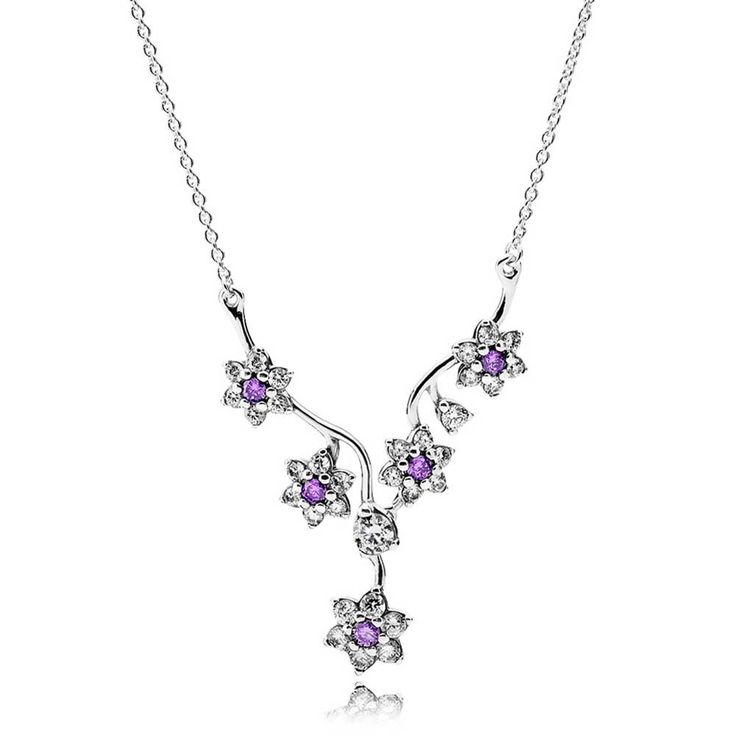 Pandora Forget Me Not Necklace 590519ACZ On Sale