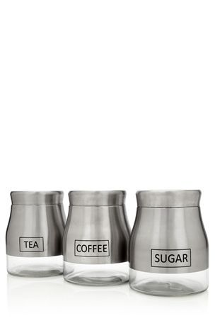 Buy Stainless Steel Storage Jars - Set Of 3 from the Next UK online shop