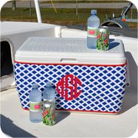 Ice Chest Cooler Koozie Wrap - Navy Lattice