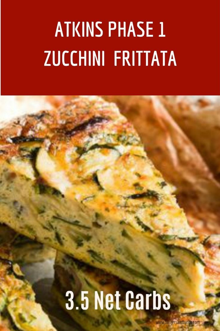 Induction diet recipe for Phase 1 of the Atkins Diet. This Zucchini Frittata is perfect for those in Phase 1 of the Atkins Diet or for anyone on a low carb diet. This recipe has 3.5 net carbs per serving.