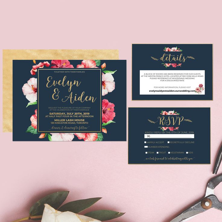 Printable Wedding Invitation Watercolor Floral Wedding Suite