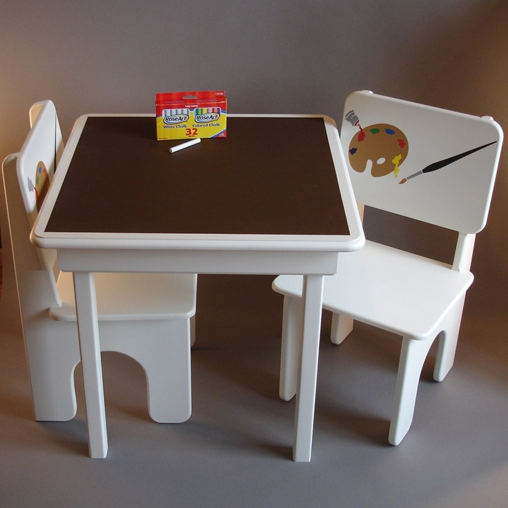Chalkboard Table and Chairs for Little Artists in Coffee and Cream. $220,00, via Etsy.