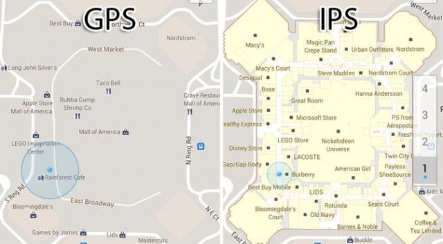 GPS vs. IPS (indoor positioning). This example comes from Mall of America, but works for museums, too!