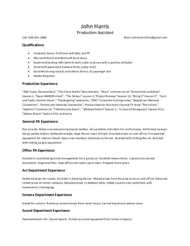 Top 20 Production Assistant Resume Resume Guide Cover Letter For Resume Marketing Jobs
