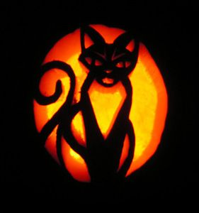 Here are some fun ideas for carving your own cat jack-o-lanterns.  Patterns you can print or download:          Inspiration: