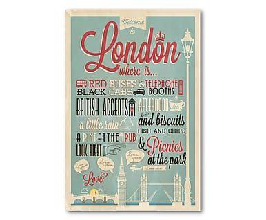 Metallschild London, 30 x 45 cm