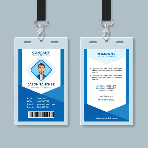 Blue Employee Identity Card Template Id Card Template Employee