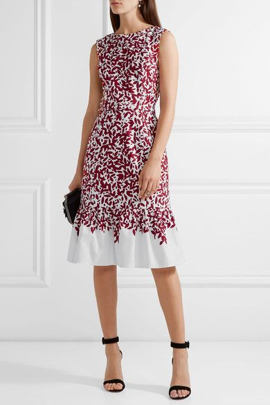 Oscar de la Renta - Printed Cotton-blend Canvas Dress - Burgundy - US