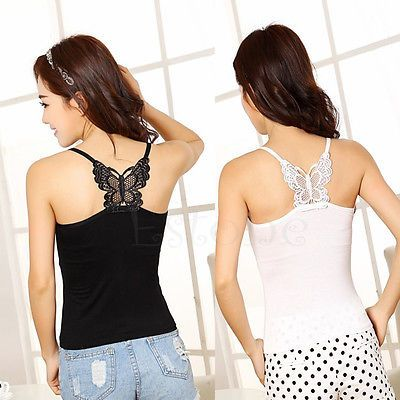 Fashion New Sexy Women Butterfly Lace Strap Sleeveless Vest Blouse Tank Crop Top