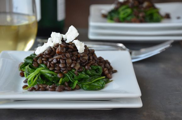 Lentils with Spinach and Goat Cheese let you eat healthy without compromising
