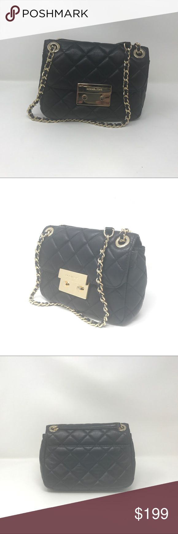 Michael Kors Sloan Gold Quilted Chain shoulder bag This is pre-owned  Sloan Black Gold Quilted Leather Chain Shoulder Bag.  Bag is in  perfect condition.   Bag lock have some dings and scratches except that  bag is perfect. Michael Kors Bags Shoulder Bags
