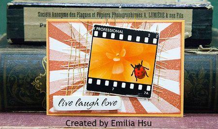 ATC by Emilia Hsu using Darkroom Door Bright Blossoms Filmstrip and Sunshine Background Stamp. http://www.darkroomdoor.com/filmstrips/filmstrips-bright-blossoms-vol-2