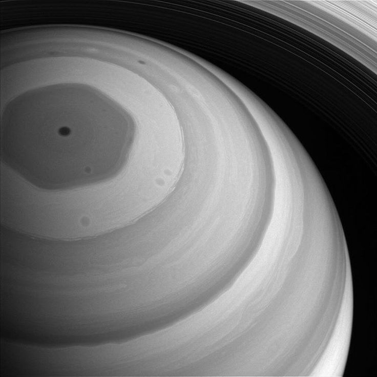 This is a legitimate hexagon shaped jet stream around Saturn's north pole, isn't that amazing? The image was taken by NASA's Cassini spacecraft in September 2016. It is thought the geometric shape, which has a massive rotating storm at its centre, is formed by competing winds at different heights, and has existed for at least decades, possibly much longer.   Image Credit: NASA/JPL-Caltech/Space Science Institute