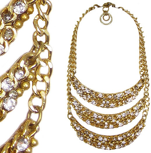 Jewellery by Karen gold tone chain and rhinestone bib necklace. Details: http://jewellerybykaren.com/boutique/necklaces/necklace-1055n