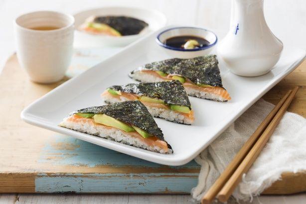 Salmon and avocado sushi sandwiches