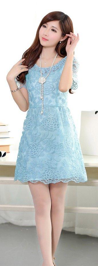 Short Sleeve Korean Organza Dress YRB0047