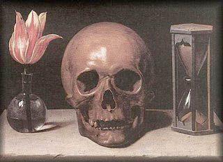Genre: vanitas stilleven (laat zien dat wij maar nietig zijn en dat er een einde komt aan het leven) Op dit schilderij zijn nietige voorwerpen afgebeeld, een zandloper voor de tijd die verstrijkt en een schedel voor de dood die eraan komt. Op dit schilderij heeft de schilder goed de schaduwen en het licht gebruikt, maar het heeft vooral symbolische betekenis.