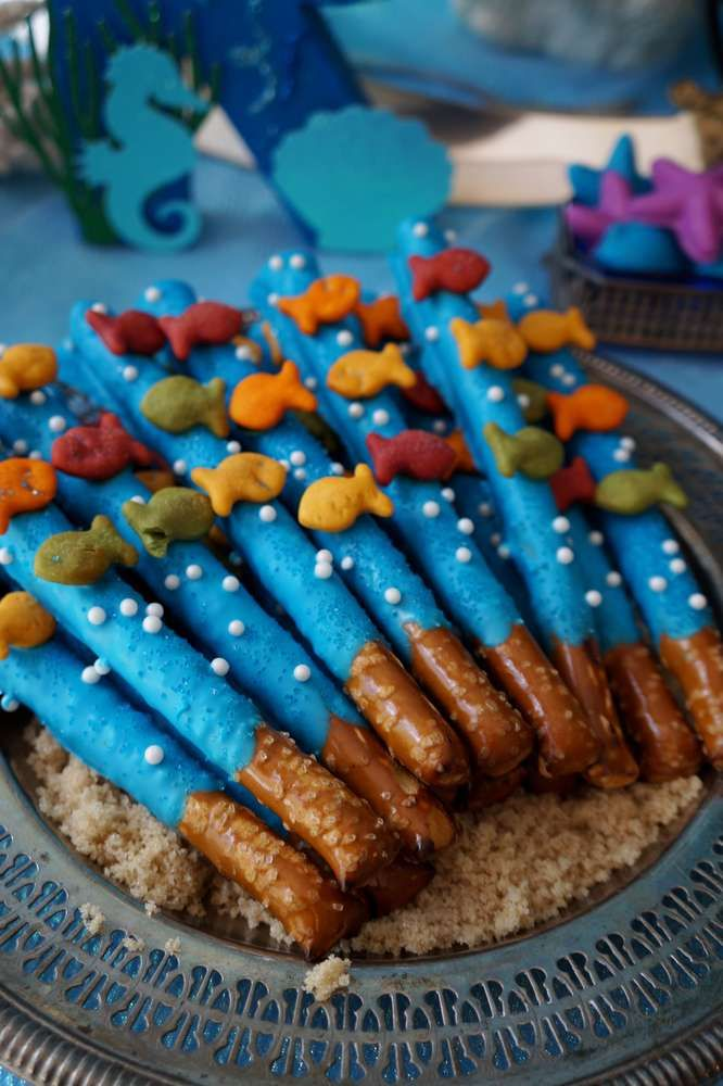 Pretzel sticks at a pirates and mermaids birthday party! See more party ideas at CatchMyParty.com!