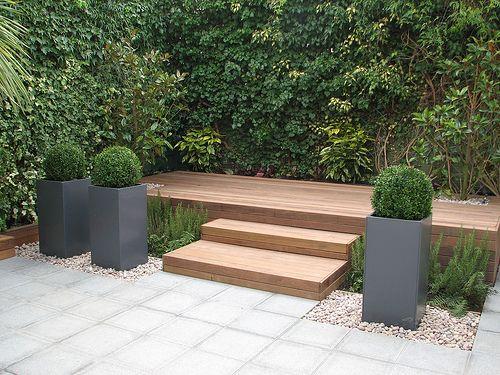 "small yard idea....""Raised Hardwood Deck Entertaining Area by Modular Garden, via Flickr"""