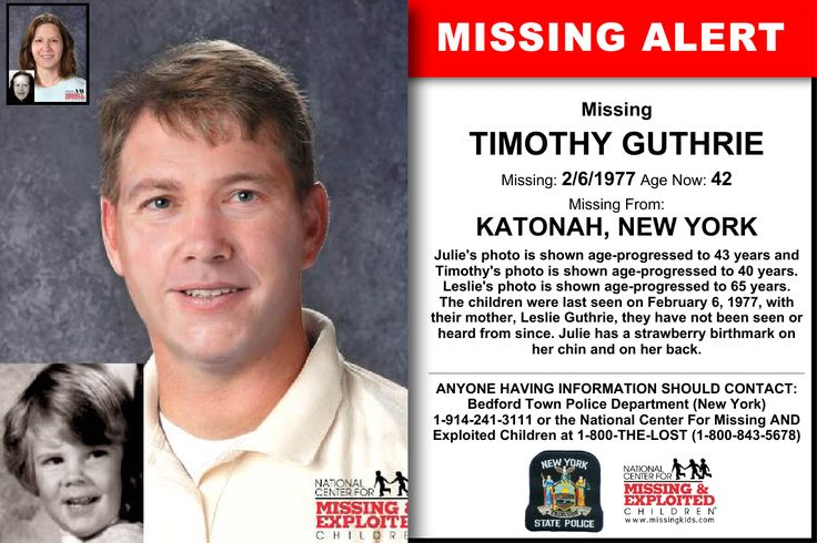 TIMOTHY GUTHRIE, Age Now: 42, Missing: 02/06/1977. Missing From KATONAH, NY. ANYONE HAVING INFORMATION SHOULD CONTACT: Bedford Town Police Department (New York) 1-914-241-3111.