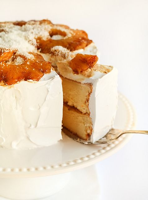 @KatieSheaDesign ♡❤ #Cake ❤♡ ♥ ❥ Coconut Chiffon Cake with Roasted Pineapple