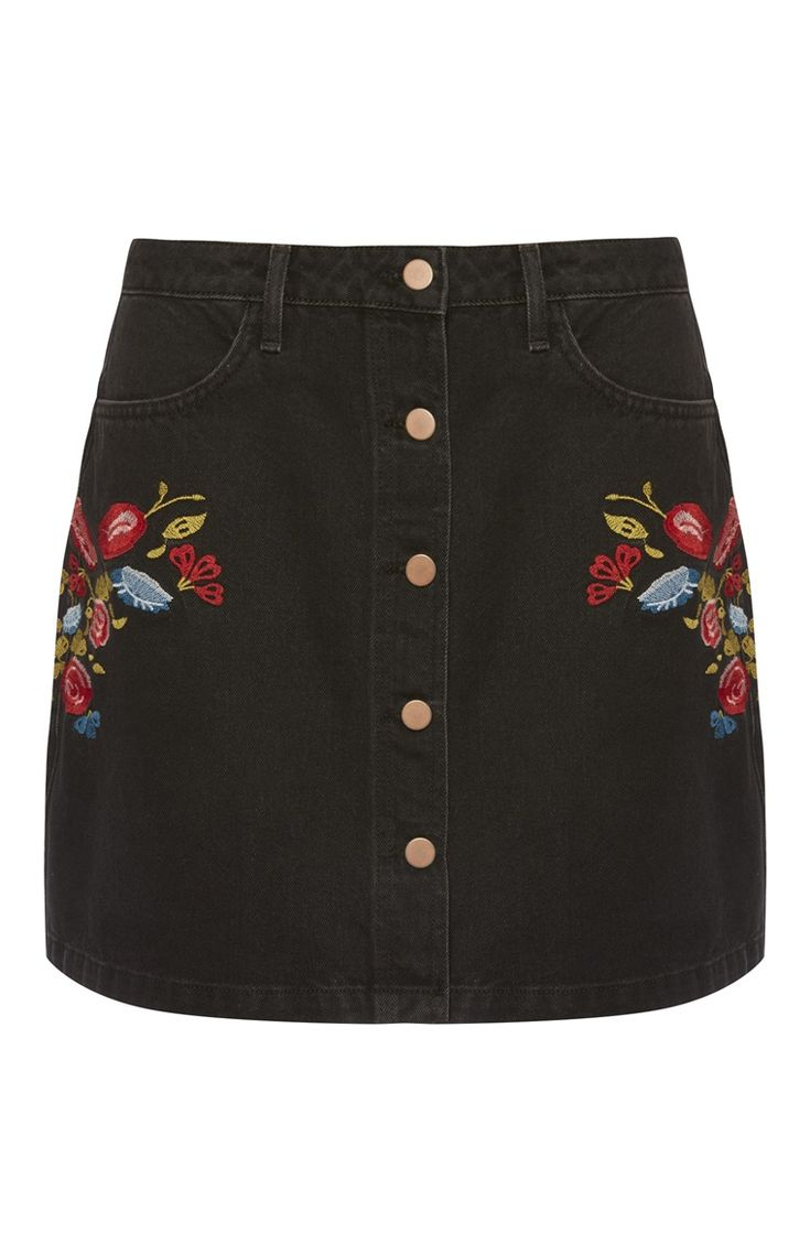 Primark london fashion week day in the life primark womenswear - Black Denim Embroidered Skirt Embroidered Skirtsprimark Clothesvintage
