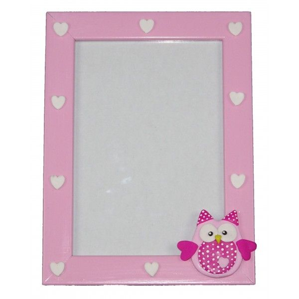 Fotolijstje roze/witte hartjes/roze uil