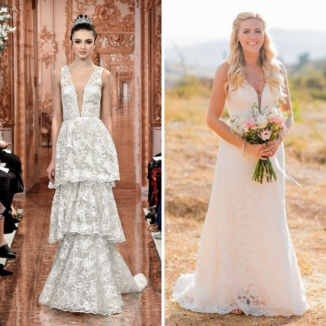 The gown on the left courtesy of Theia featured at Bridal Fashion Week and shows the upcoming trend of plunging necklines for 2019.  Our beautiful bride Isabelle was right on trend and ahead of the game for her September 2018 wedding in Spain.  Isabelle came to us after trawling the dress shops saying she couldn't find anything even remotely similar to the look she was after.  The dress shops can struggle to source on trend gowns until everyone has jumped on the band wagon because they tend not to filter down to the shops quickly enough to get ahead of the game.  If you want to wow your groom and make a real statement showing your true personality then bespoke is the way to go.   #lesleycutlerbridal #2019bride #bridetobe2019 #luxurywedding #weddingtrends #littlebookforbrides  #weddingdressgoals #weddinginspiration #weddingblog #dailyweddinginspiration #bridalfashion #gettingmarried #theknot #futuremrs #bridestyle #luxewedding #dreamdress #weddingdressdetails #bridalbliss #instawedding #designerweddingdress #livecolorfully #shediditanyway #ohyeswow #wearethemakers #calledtobecreative #flashesofdelight #miltonkeynes #buckinghamshire #uk