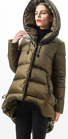 Flared Hooded Short Down Coat in Army Green Material: Polyester, White Duck Down Fill