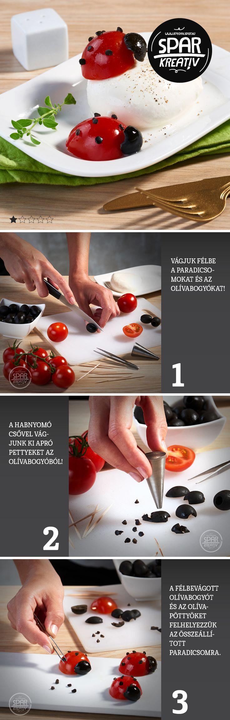 Ennivaló katicák: Mi születik a paradicsom és a fekete olajbogyó keresztezéséből? Ehető katica! Meglepő válasz, pedig csak néhány dologra van szükség, hogy ezt a különlegességet mi is elkészítsük. Hozzá való alapanyagok és eszközök: kisebb méretű fürtös vagy koktélparadicsom, magozott fekete olívabogyó, fém habnyomó cső, csipesz, szervírozótál. Az eredmény kétségtelenül megéri a munkát, és talán még a paradicsomtól és az olajbogyótól idegenkedőket is rá tudjuk venni egy kóstolóra!