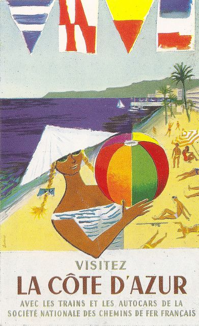 """SNCF - French Railways """"La Cote D'Azur"""" poster by Dubois, 1957 by mikeyashworth, via Flickr"""