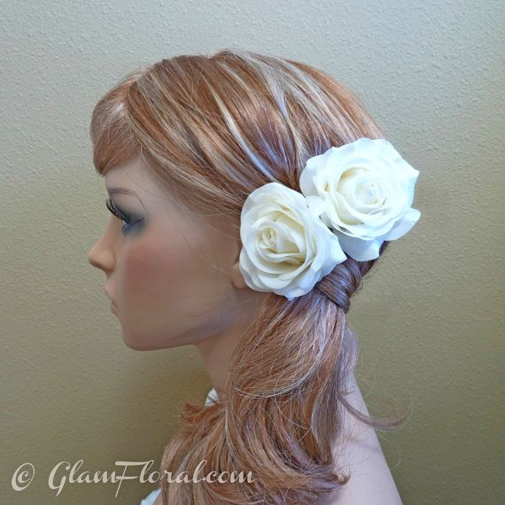 2 Cream White Rose Hair Clip Set Real Touch Wedding Hair