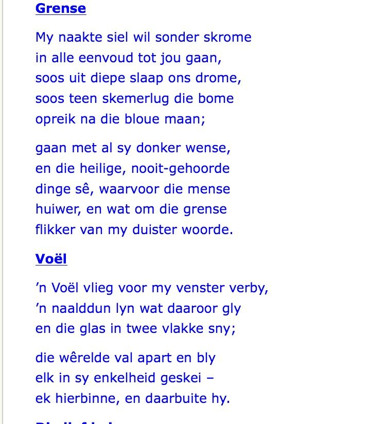 Grense | NP Van Wyk Louw | My naakte siel wil sonder skrome in alle eenvoud tot jou gaan ...