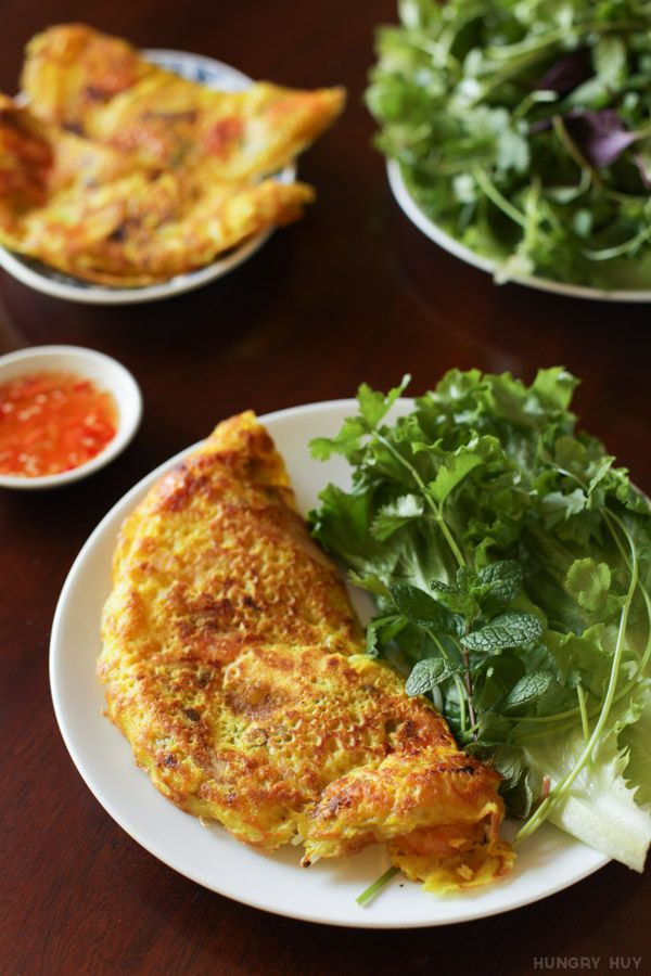 Plated and ready to eat banh xeo! | HungryHuy.com. Savory Vietnamese Crepe