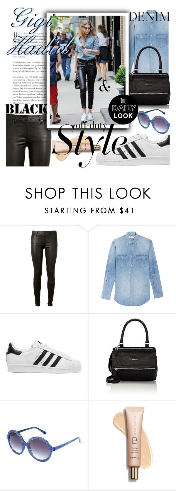 """Gigi Off-Duty Style"" by anin-kutak ❤ liked on Polyvore featuring AG Adriano Goldschmied, Yves Saint Laurent, adidas Originals, Givenchy, Heidi London and offduty"