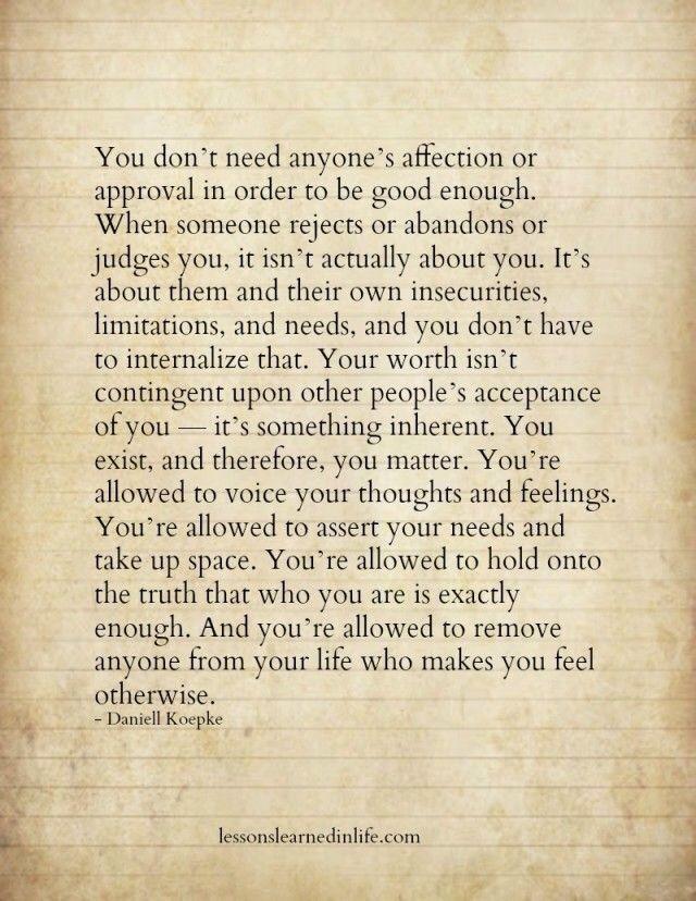 You are already good enough.