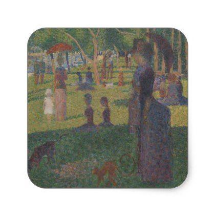 #Study for A Sunday on La Grande Jatte Square Sticker - #sunday #sundays
