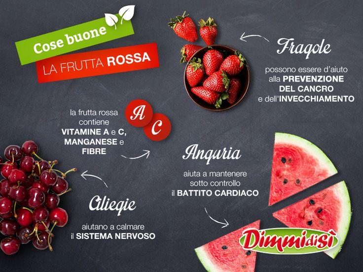 Un solo #colore, tanti benefici. Scoprite tutti i vantaggi della #frutta #rossa: da una memoria migliore a un #cuore più sano! #dimmidisi #salute #health #red #fruit #rosso #fragole #anguria #ciliegie