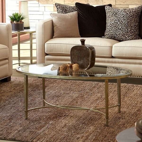 Copia Contemporary Gold Tinted Antique Silver Oval Coffee Table