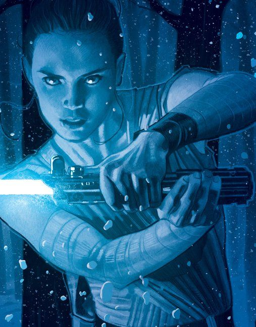 Rey fighting Kyloren Ren on  the surface of Star Killer Base | Artist and Publication unknown please send credits info to Optimystique1