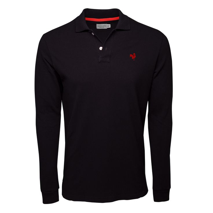 Black Long Sleeve Polo Shirt with Red Rooster