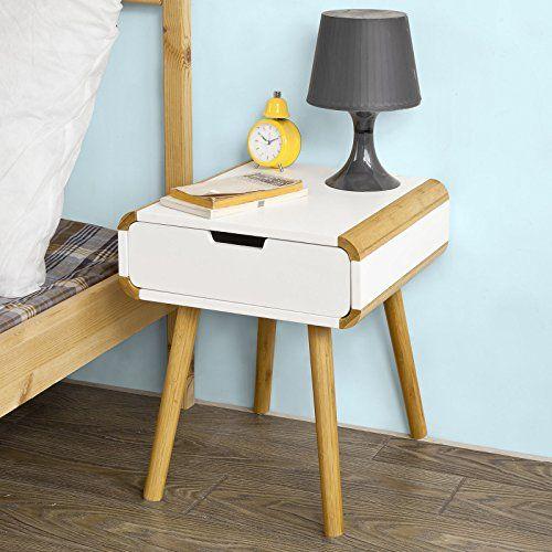 SoBuy® Beistellschrank,Nachttisch Aus MDF Und Bambus In Weiß Mit Einer  Schublade Im Modernen