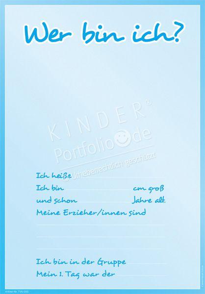 """Kindergarten Portfolio Vorlagen """"Wer bin ich"""""""
