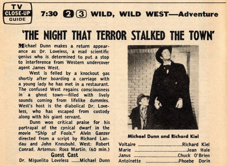 1965 TV AD~WILD WILD WEST~MICHAEL DUNN as DR MIGUELITO LOVELESS~RICHARD KIEL