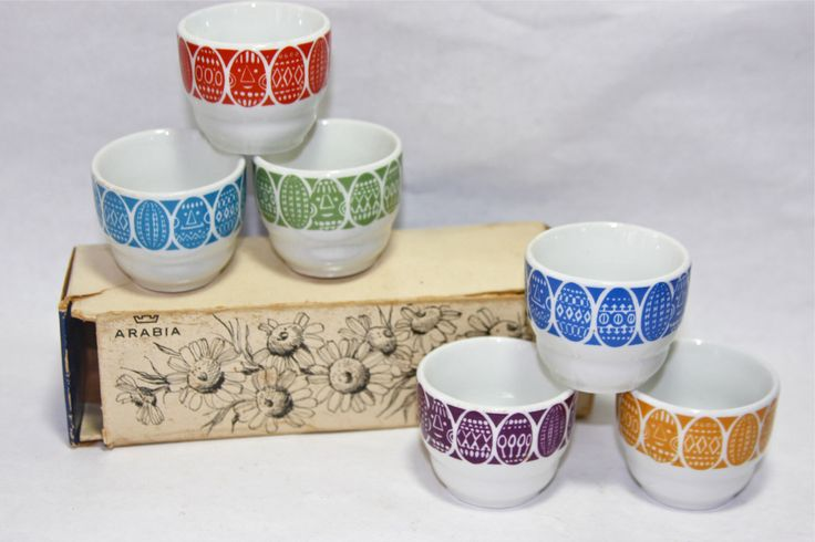 Sale - Arabia Finland Six (6) Kauno Egg Cups in Original Packaging by TheClayPenguin on Etsy https://www.etsy.com/listing/170704078/sale-arabia-finland-six-6-kauno-egg-cups