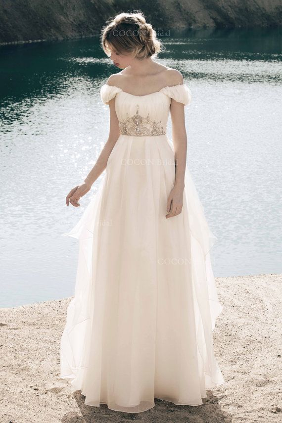 Bohemian Wedding Dress from Silk & Organza by CoconBridal. BEAUTIFUL dress. Love the crystals!