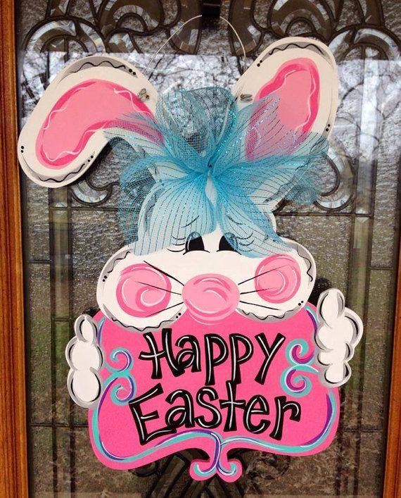 Easter Bunny Door Hanger by DoorCreationsbyJess on Etsy, $48.00