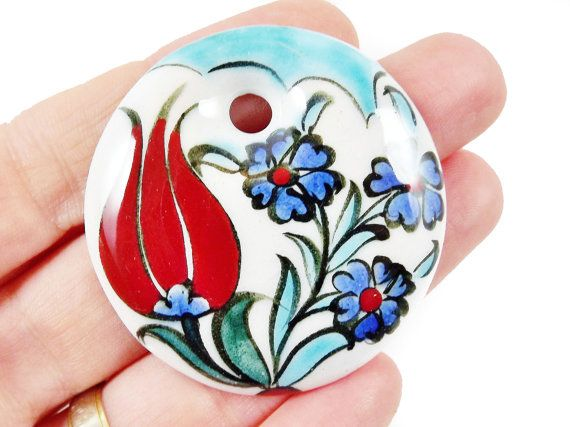OOAK Large Hand painted Turkish Cini Ceramic by LylaSupplies, $9.50