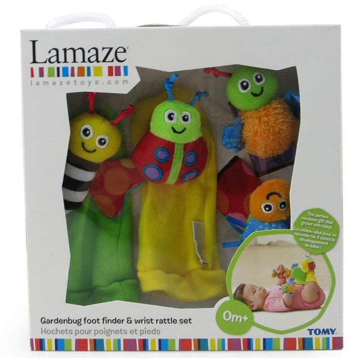 These soft multi-textured Lamaze Garden Bugs Baby Foot Finders and Wrist Bracelets crinkle, rattle and surely make your baby smile!  Manufactured by Lamaze.